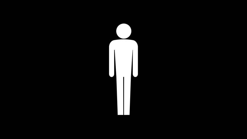 Body Figure Size Icon. Stick Figures..animation with optional luma matte. Alpha Luma Matte included. 4k video