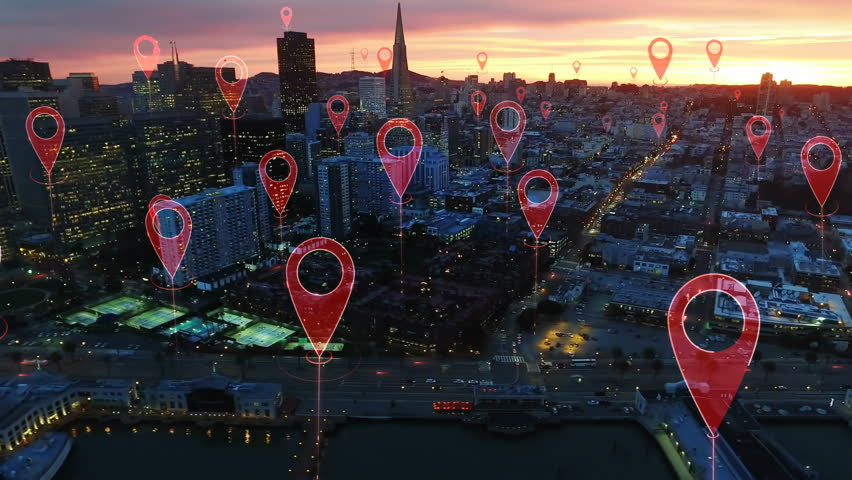 Technology concept, data communication, artificial intelligence. Aerial smart city. Localization icons in a connected futuristic city.   internet of things. San Francisco skyline. | Shutterstock HD Video #1014944278