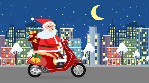 Happy Santa Claus riding on a moped over the night city with bag full of gifts. New Year and Christmas greeting. Cute christmas loop gif animation 4K.