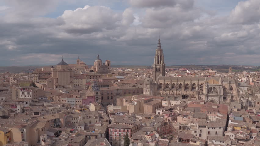 Toledo, Spain - April, 2017: Aerial view of Toledo with the Cathedral. | Shutterstock HD Video #1014951148