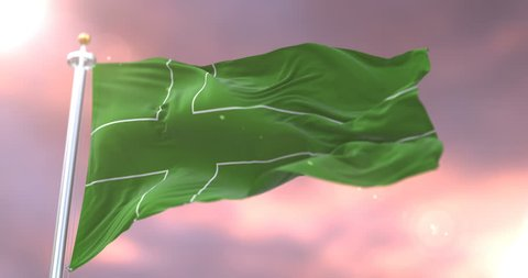 Flag of Ladonia waving at wind at sunset in slow, loop