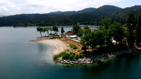 Aerial Shot Tracking Across a Cove in Lake Arrowhead, California