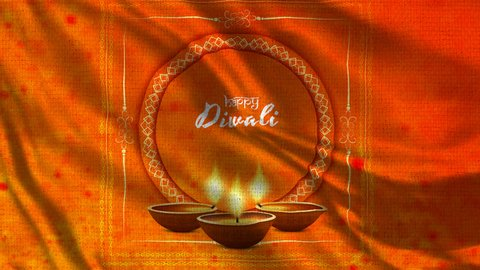 Happy Diwali Flag Loop 002 - 4K Diwali Festival Footage -  Diwali Background Colorful