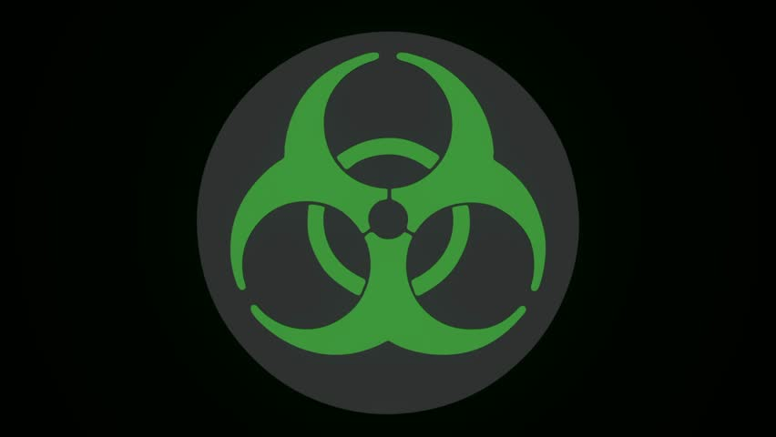 Radiation Biohazard Death Quarantine. Set Signs. Black Background. Radioactive symbol design