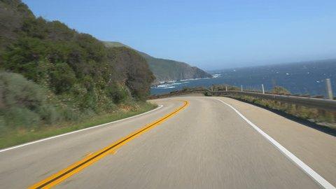 Driving Cabrillo Highway along the Big Sur, California coast.