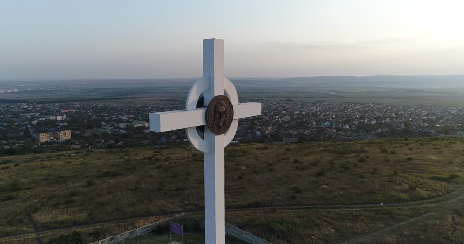 Drone flying 4K video on Worship Cross near Anapa city, Black sea, Russia