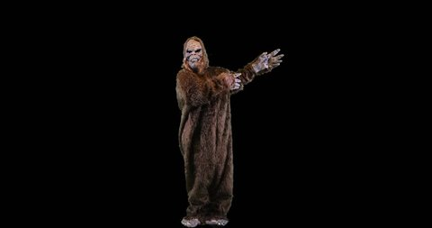 Bigfoot or Sasquatch creature looking and gesturing right.