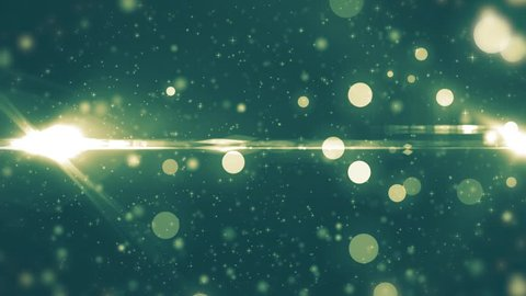 Neon light shine particles bokeh, holiday concept. Christmas animated golden background with circles and stars. Space background. Seamless loop.