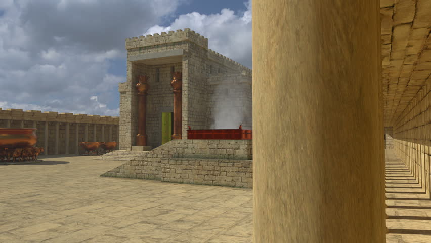 An artistic impression of Solomon's Temple. A closer view of the Brazen altar in the courtyard of Solomon's Temple with smoke gentle smouldering in the grate.