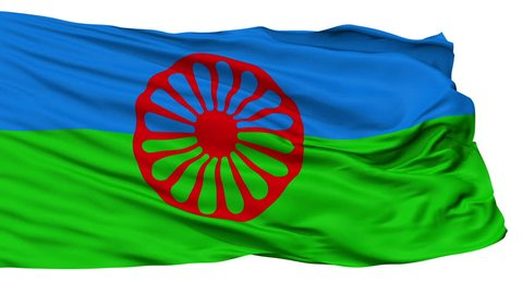 The Romani People Flag, Isolated View Realistic Animation Seamless Loop - 10 Seconds Long