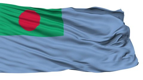 Ensign Of Bangladesh Coast Guard Flag, Isolated View Realistic Animation Seamless Loop - 10 Seconds Long