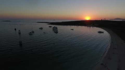 Sunset drone footage of the beautiful island of San Espalmador, Formentera.