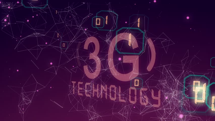 Abstract background with animation word of 3G from metallic net. Animation of seamless loop.