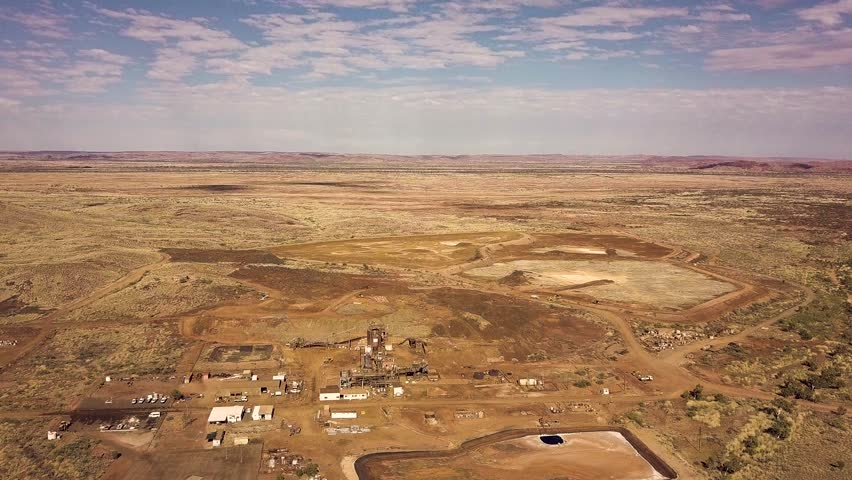 Aerial shot of an old disused mill in the Pilbara region of Western Australia