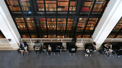 LONDON - MAY, 2018: British Library interior view. It is the national library of the United Kingdom and the largest national library in the world by number of items catalogued.