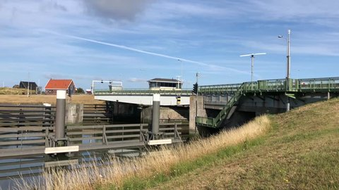 Bridge opens at kornwerderzand in Friesland The Netherlands