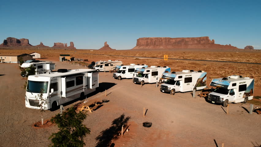 Aerial view RV park (campground) near the Oljato–Monument Valley, Utah.