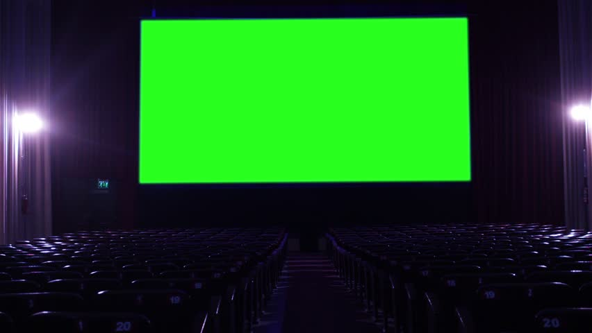 "Movie Theater with Green Screen. Blue  Tone. You can replace green screen with the footage or picture you want with ""Keying"" effect in AE  (check out tutorials on YouTube). 
