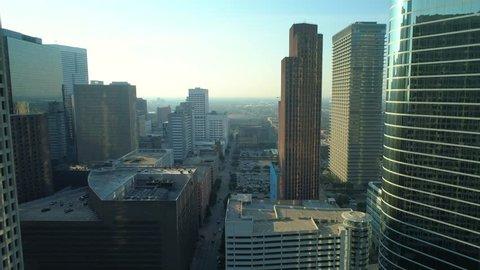 HOUSTON, TEXAS, USA - AUGUST 1, 2018: Aerial hyperlapse Downtown Houston Texas and the Toyota Center