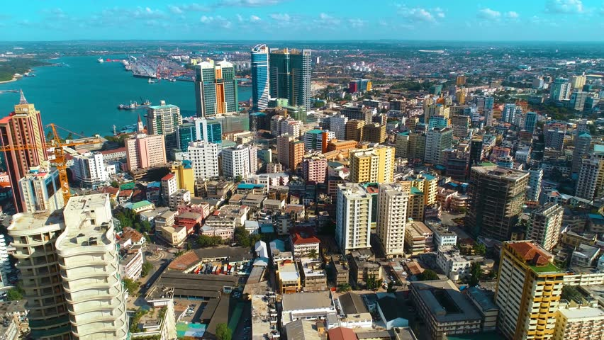 aerial view of the Dar city, Tanzania