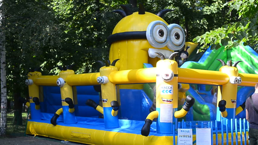 Moscow-Russia, 10 August 2018: Minion like trampoline in park Sokolniki