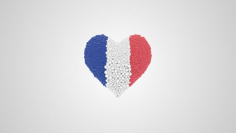 National Day France. July 14. Bastille Day. Heart animation with alpha.