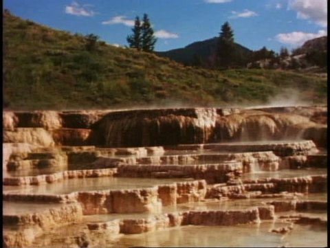 YELLOWSTONE NATIONAL PARK, WYOMING, 1978, Mammoth Hot Springs, wide shot
