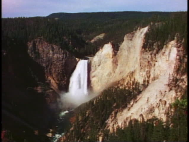 YELLOWSTONE NATIONAL PARK, WYOMING, 1978, Lower Falls, waterfall, wide shot