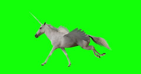 Pegasus and winged Unicorn running on a transparent background. The first running horse with horn, and the second without horn. Isolated and cyclic animation. Seamless loop. Green Screen