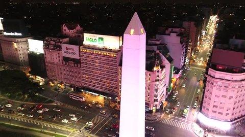 Buenos Aires, Argentina - 11/19/2017 Obelisco de Buenos Aires (Obelisk of Buenos Aires) at night