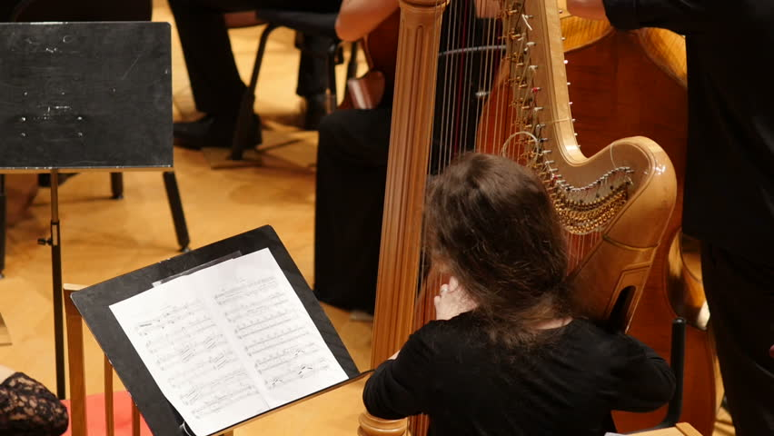 Rear view of young female musician playing the harp in symphony orchestra, Full HD shot