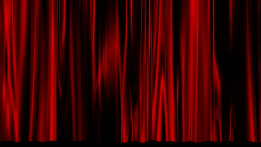 A red curtain rises to reveal a black background. | Shutterstock HD Video #1015528408