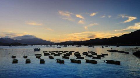 Empty boats on the bay at sunset. Tai Mei Tuk, Tai Po, New Territories