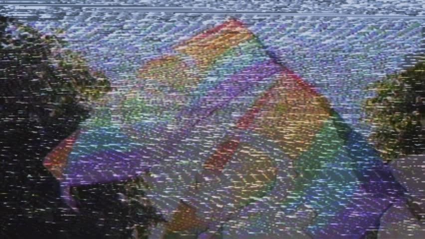 Old vhs vintage film tape effect over Lesbian and gay gender symbols on two  gay rainbow flag in slow motion at Lesbian Gay Bisexual Transgender LGBT  GLBT ...