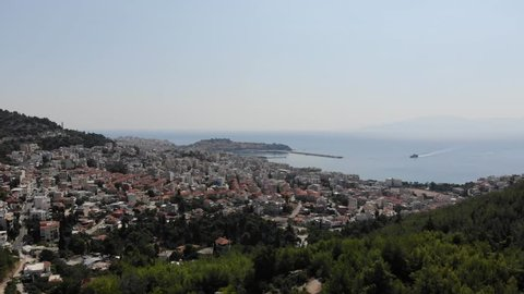 Panoramic aerial shot of The City of Kavala in Greece