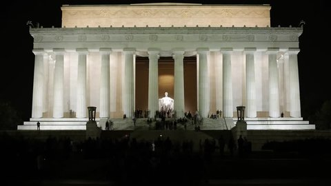 Lincoln Memorial at Night-Time. Center of Washington. the Lincoln Memorial is Located on the Esplanade in the Center of Washington