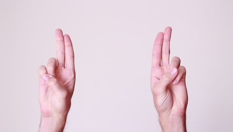 Quotation marks/male fingers