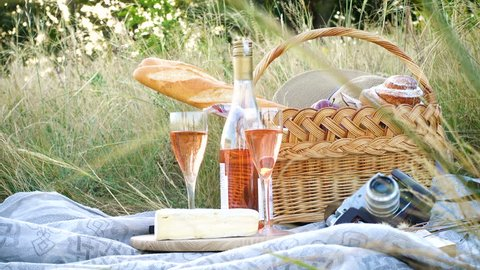 picnic basket with the food and bottle of wine on a grass at the field