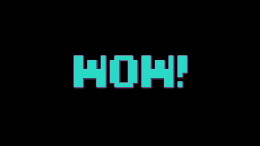 "Inscription wow in 90""s style with colorful glitch on black. Retro arcade, vintage and pixel art motive. High quality 4k video background. 