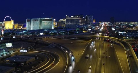 Las Vegas Strip 4k Aerial Footage of entire strip