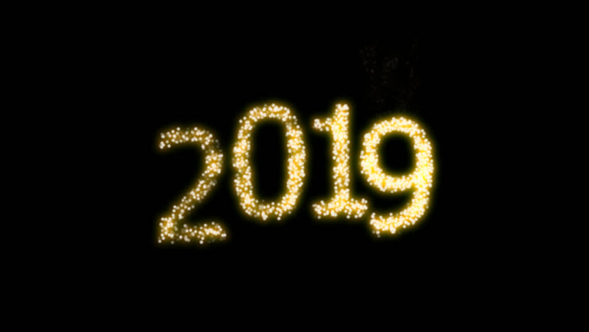 Happy New Year 2019 Video Animation with dynamic particles with alpha clip. For designing animated greeting cards and banners. | Shutterstock HD Video #1015756228