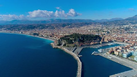 4K Aerial hyperlapse of Nice France promenade, Mediterranean Sea and airport view. France city timelapse panorame.
