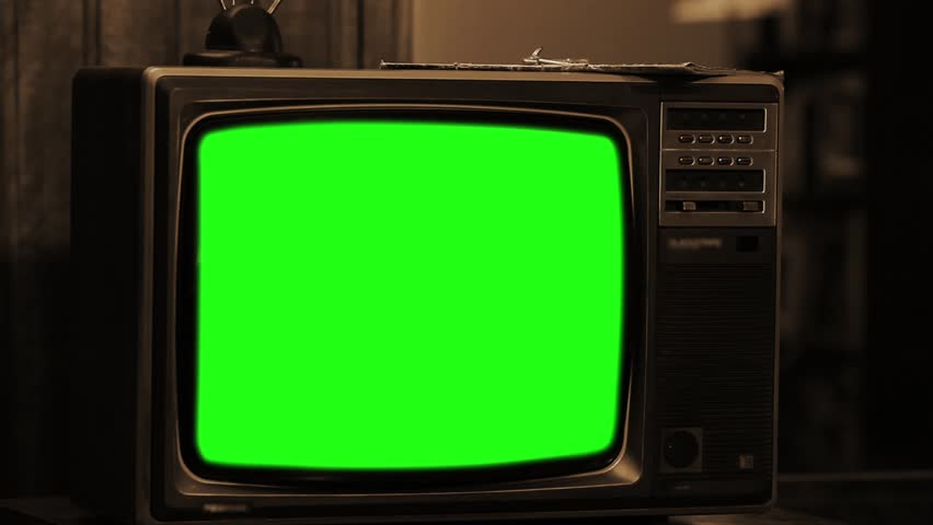 80s TV With Green Screen. Sepia Tone. Zoom Out.  #1015770868