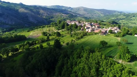 Aerial view of the medieval village of Bergogno of the Reggio Emilia Apennines