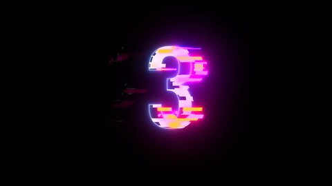 colorful futuristic laser glitch interference countdown numbers from 3 to 1 new dynamic holiday joyful techno video footage