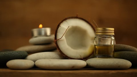 coconut oil for massage pebble candle