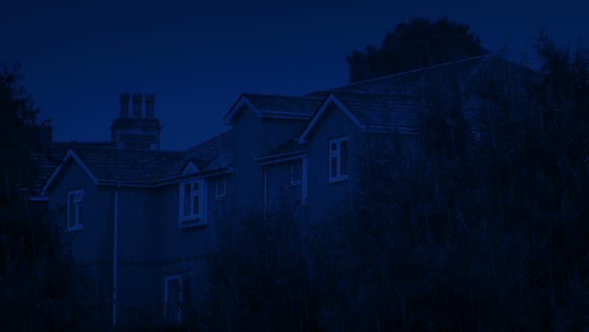 Houses In Heavy Rain At Night