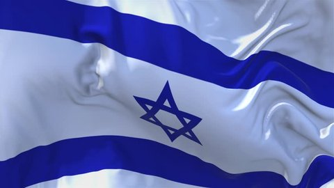 184. Israel Flag Waving in Wind Slow Motion Animation . 4K Realistic Fabric Texture Flag Smooth Blowing on a windy day Continuous Seamless Loop Background.