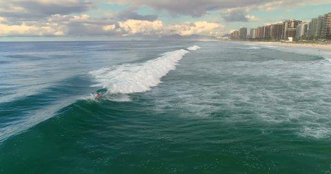 Surfing on Barra da Tijuca Beach, Brazil