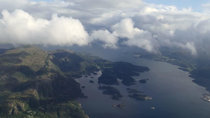 Aerial view on Norwegian fjords, Norway   Shutterstock HD Video #1015865908